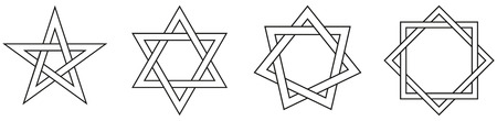 hexagram: Geometric Star Figures Outline - Pentagram, hexagram, heptagram and octagram - self-intersecting star shaped figures with five, six, seven and eight sides. Illustration