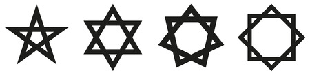 hexagram: Geometric Star Figures Black - Pentagram, hexagram, heptagram and octagram - self-intersecting star shaped figures with five, six, seven and eight sides. Illustration