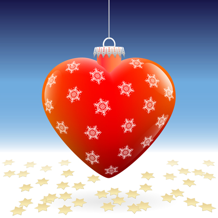 dispersed: Heart shaped shiny red christmas ball with snowflake pattern and dispersed gold glitter stars.
