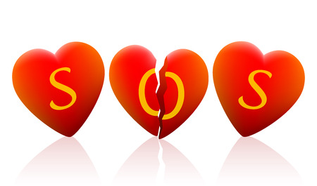 sad love: Three hearts that say SOS, the heart in the middle is broken.  Illustration