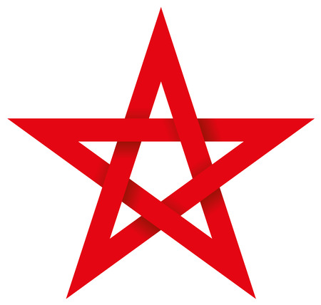 Red Pentagram 3D - Five-pointed geometric star figure that can be drawn with five straight strokes. Illustration looks three-dimensional.