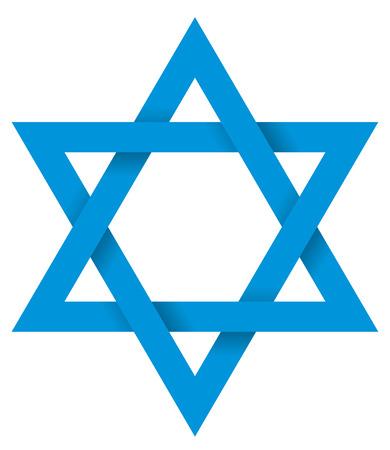 Blu Esagramma 3D - La figura geometrica stella a sei punte è il composto di due triangoli equilateri. L'intersezione è un esagono regolare. Illustrazione appare tridimensionale.