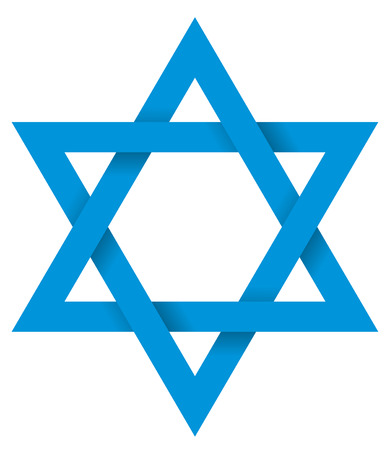Blue Hexagram 3D - The six-pointed geometric star figure is the compound of two equilateral triangles. The intersection is a regular hexagon. Illustration looks three-dimensional. Illustration