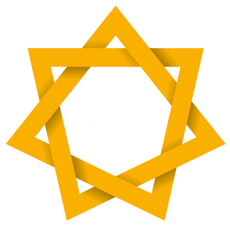 Gold Heptagram 3D - Seven-pointed geometric star figure that can be drawn with seven straight strokes. Illustration looks three-dimensional. 일러스트