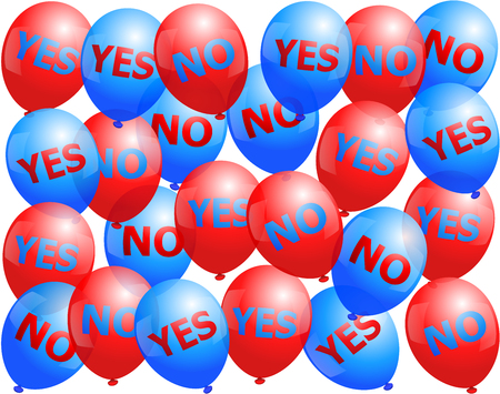 campaigning: Balloons that are labeled with YES and NO. Isolated vector illustration on white background.