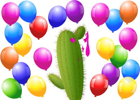 Menacing cactus surrounded by balloons, one is bursted. Isolated vector illustration on white background. Illustration