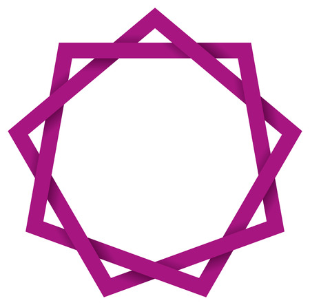 interlocked: Purple Enneagram 3D - Nine-pointed geometric star polygon that can be drawn with nine straight strokes. Also called nonagram. Illustration looks three-dimensional.