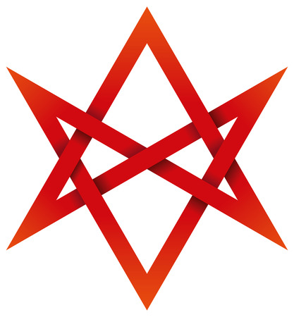 interlocked: Red Unicursal Hexagram 3D - Six-pointed star that can be traced or drawn unicursally, in one continuous line rather than by two overlaid triangles. Illustration looks three-dimensional.