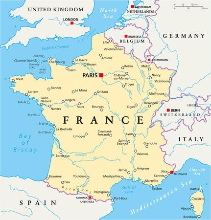europa: Francia Mapa político con los capitales de París, de las fronteras nacionales, la mayoría de las ciudades y los ríos importantes. Etiquetado y escalado Inglés. Ilustración.