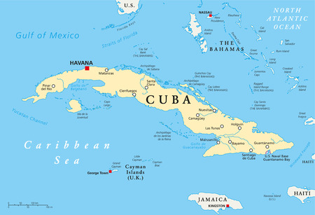Cuba Political Map with capital Havana, national borders, most important cities and rivers. English labeling and scaling. Illustration. Vector