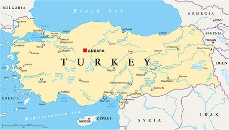 수도 앙카라, 국경, 가장 중요한 도시, 강, 호수 터키 정치지도. 영어 라벨 및 스케일링을 제공합니다.