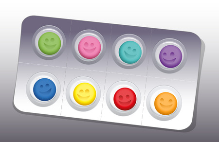 depressive: Blister with eight colorful smiling pills. Vector illustration.