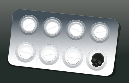 blister: Blister with seven white pills and one black skull, which alludes to the danger of false medication. Vector illustration.