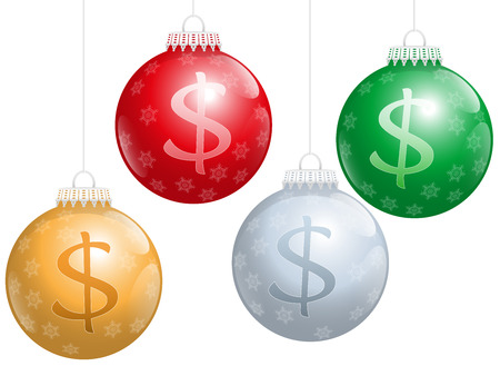 Christmas balls with dollar signs on it, as a symbol for xmas business. Isolated vector illustration over white background. Vector