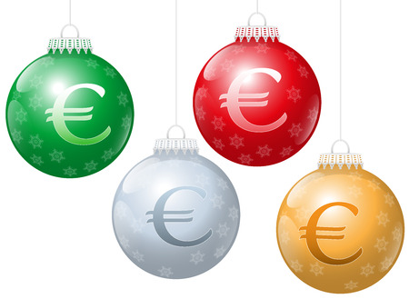 lucrative: Christmas balls with euro symbol on it, as a metaphor for xmas business. Isolated vector illustration over white background.
