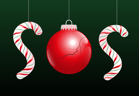 affliction: A damaged christmas ball and two candy canes make the word SOS, as a symbol for problems concerning xmas.