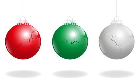 Three damaged christmas balls, as a symbol for problems concerning xmas.