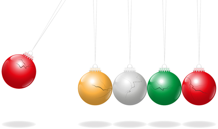 clicker: Newtons Cradle with fragile christmas balls as pendulums instead of metal balls.
