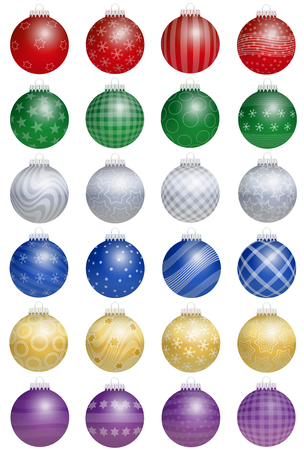 ornaments vector: Twenty-four colorful shiny christmas tree balls  - a kind of an advent calendar - with different ornaments. Isolated vector illustration over white background. Illustration