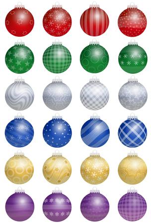 estrellas de navidad: Veinticuatro de colores brillantes bolas de árbol de Navidad - una especie de un calendario de adviento - con diferentes adornos. Ilustración vectorial aislado sobre fondo blanco.