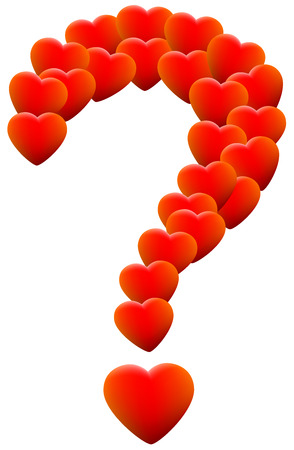 Red glowing hearts that form a question mark, as a symbol of helplessness concerning love themes. Isolated vector illustration on white background. Vector