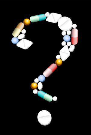 Pills, capsules and tablets, that form a question mark, as a symbol of uncertainty concerning medical and pharmaceutical issues. Isolated vector illustration on black background. Vector