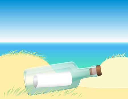 oceanography: Message in a bottle washed up at the beach coast near the ocean water. Vector illustration. Illustration