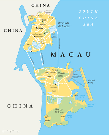 Macau Political Map. Special Administrative Region of the People