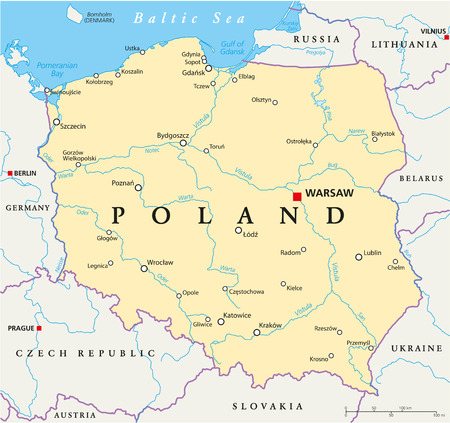 Poland Political Map with capital Warsaw, national borders, most important cities, rivers and lakes. English labeling and scaling.