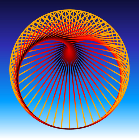 cardioid: Cardioid, a mathematical plane curve, composed of orange to red gradient lines, which generate a heart shaped geometric figure. Vector illustration on blue gradient background. Illustration