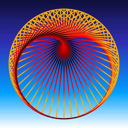 cardioid: Cardioide, una curva plana matem�tica, compuesto por naranja para l�neas de gradiente de color rojo, que generan un coraz�n en forma de figura geom�trica. Ilustraci�n vectorial sobre fondo azul degradado.
