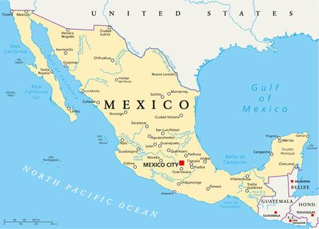 首都メキシコシティ、国境、最も重要な都市、川や湖でのメキシコの政治地図。英語のラベリングとスケーリングします。