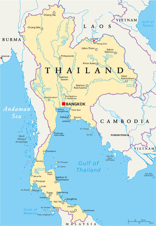 trang: Thailand Political Map with capital Bangkok, national borders, most important cities, rivers and lakes
