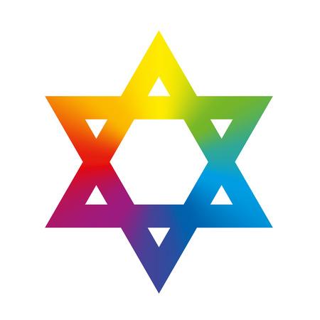 estrella de david: Estrella de David símbolo circular con coloración gradiente de arco iris. Ilustración aislada en el fondo blanco.