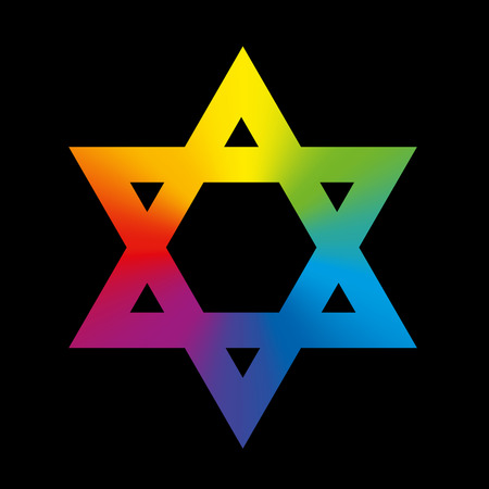 hexagram: Star of David sign with circular rainbow gradient coloring. Isolated illustration on black background.
