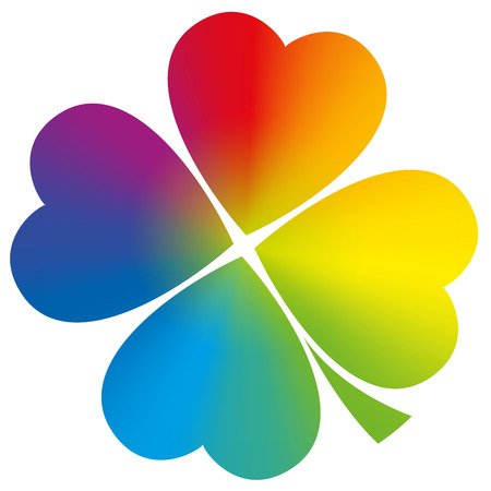 Four leaved clover with circular rainbow gradient coloring.