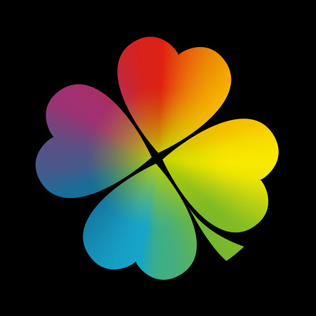 fortunate: Four leaved cloverleaf with circular rainbow gradient coloring.  Illustration