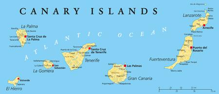 Kanarische Inseln politische Karte mit Lanzarote, Fuerteventura, Gran Canaria, Teneriffa, La Gomera, La Palma und El Hierro Illustration