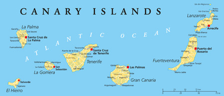 Kanarische Inseln politische Karte mit Lanzarote, Fuerteventura, Gran Canaria, Teneriffa, La Gomera, La Palma und El Hierro Standard-Bild - 32516579