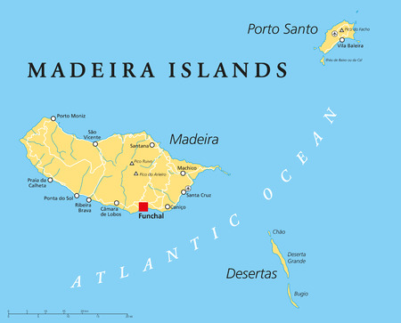madeira: Madeira Islands Political Map with Madeira, Porto Santo and Desertas Illustration
