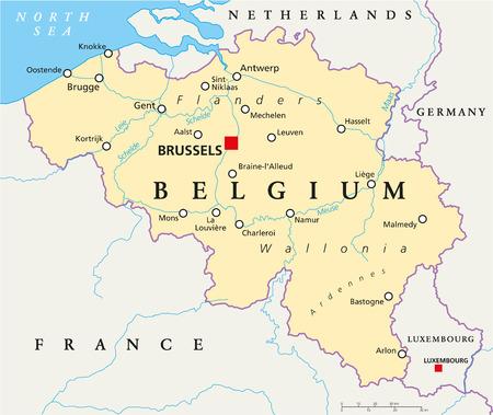 首都ブリュッセル、国境、最も重要な都市と川とのベルギーの政治地図