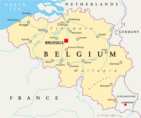 Belgium Political Map with capital Brussels, national borders, most important cities and rivers Ilustrace