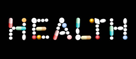pharma: The word HEALTH composed with various pills and capsules. Isolated on black background.