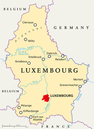 Luxembourg Political Map with capital Luxembourg, national borders, most important cities, rivers and lake
