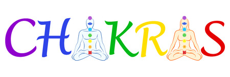 In place of the first and the second A in the word CHAKRA there is a meditating man and woman in yoga position with their seven main chakras. Isolated vector illustration on white background. Vector