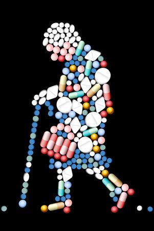 osteoporosis: Medicamentos que dan forma a la silueta de una mujer mayor. Vectores