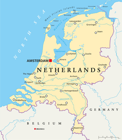 Netherlands Political Map with capital Amsterdam, national borders, most important cities, rivers and lakes. English labeling and scaling.