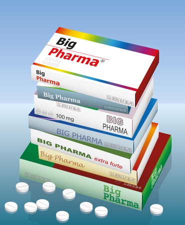 A pile of medicine packets named BIG PHARMA.