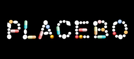 placebo: PLACEBO written with tablets Isolated illustration on black background.