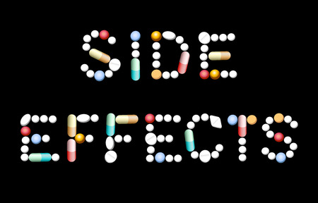 side effect: SIDE EFFECTS composed with different pills, tablets and capsules. Isolated vector illustration on black background. Illustration